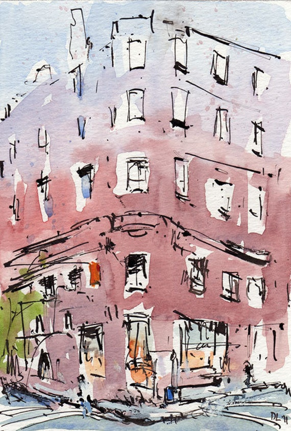 Original Cityscape Painting Ink Urban Watercolor New York City Sketch 5x7 Line and Wash - Corner Building by David Lloyd