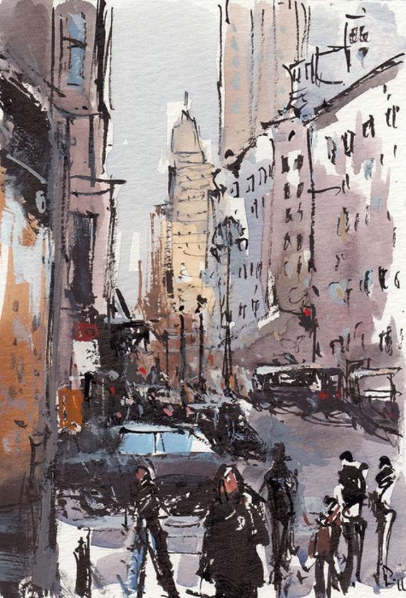 Art Print City Street People Modern Painting Sketch - Bustle by David Lloyd