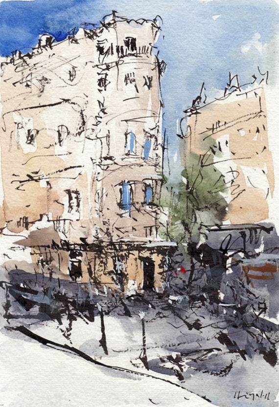 Original Painting Paris France Cityscape Ink Urban By