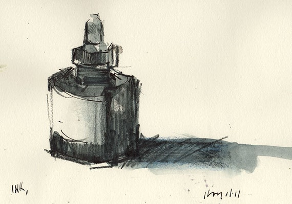 Original Painting Ink Bottle Watercolor Sketch 5x7 Line and Wash - Ink by David Lloyd