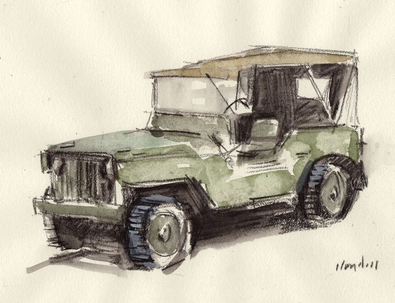 Line Drawing Jeep : Original painting auto car retro jeep watercolor by