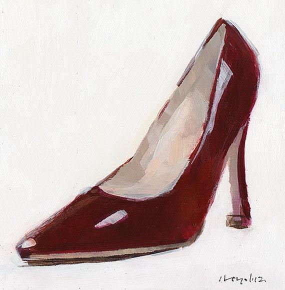 original painting shoe high heel still by