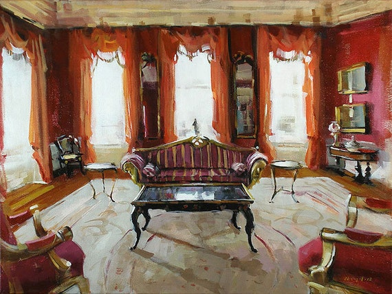 Art Print Interior Red Sofa Light Living Room 9x12 on 11x14 - Red Room by David Lloyd