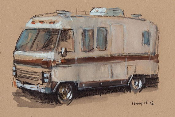 Original Painting RV Camper Motor Home Watercolor Sketch Drawing 5x7 Line and Wash - Airstream Argosy by David Lloyd