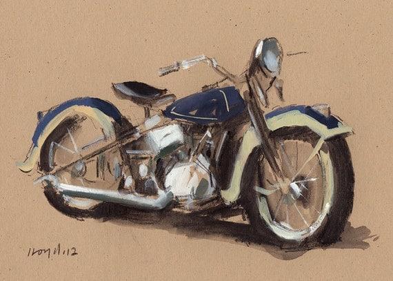 Art Print Motorcycle Painting Harley Retro Travel Americana - Harley by David Lloyd