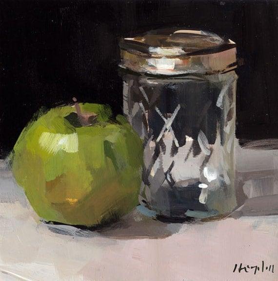 Art Print Still Life Apple Green Glass Jar 5x5 On By