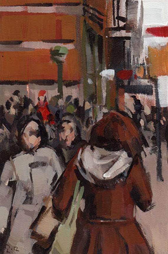 Original Painting Cityscape New York People 3.5 x 5 Acrylic - Soho Brown by David Lloyd