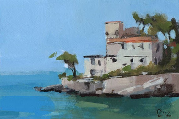 Original Painting Seascape Tuscany Landscape Ocean By