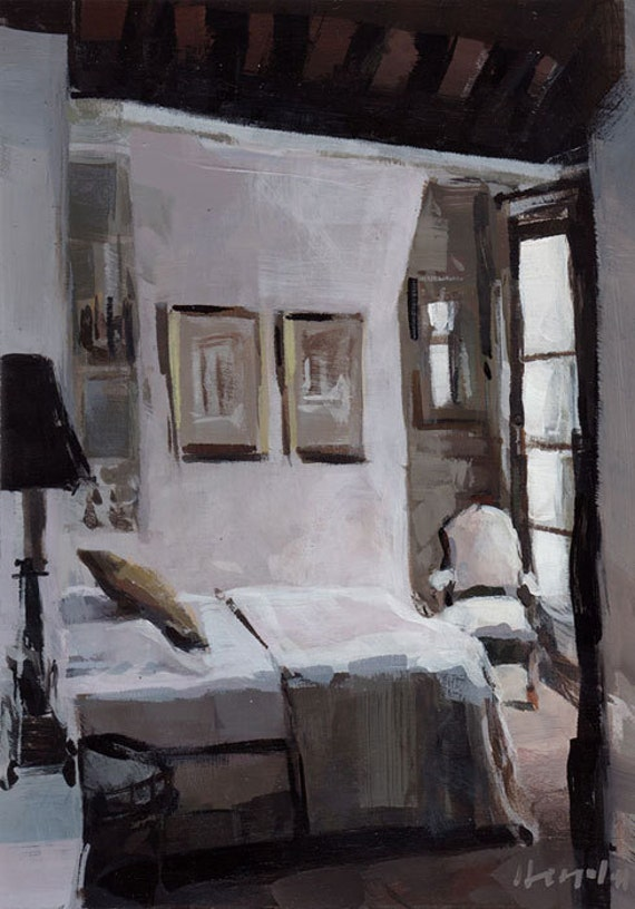 RESERVED for Sarah Watts - Parisian Bedroom 9x12 on 11x14