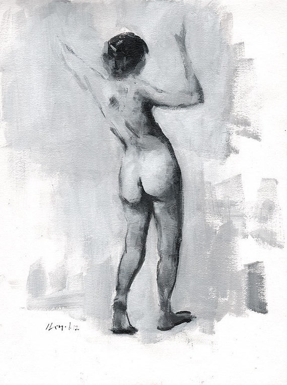 "Original Painting Figure Study Classical Female Form Nude Monochrome Sketch 9x12 - ""Tonal Figure Study 2"" by David Lloyd"