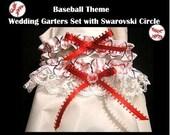 SPORT BASEBALL Fans Handmade Wedding Garter Garters 2pc set Bridal Shower Gift
