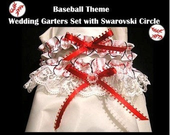 SPORT BASEBALL Fans Handmade  Wedding garter garters 2pc Groom Bridal Gift Party