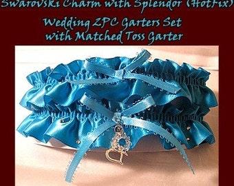 Turquoise Blue Swarovski Hotfix sparkle Wedding Garter Garters Bridal Set