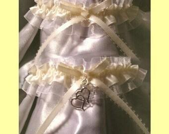 Ivory White Swarovski beads Heart Charm Wedding Garter Garters Gift Set