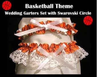 SPORT BASKETBALL Wedding garter 2pc garters set porm bridal shower gift
