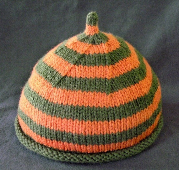 Knit Baby Hats Patterns Roll Brim : Items similar to Pattern, Rolled Brim Baby with Stripes and Point on Etsy