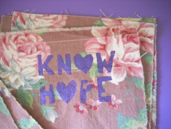 patch - KNOW HOPE - dusty violet floral rose