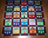 My House - Whimsical Wall Hanging Quilt Top
