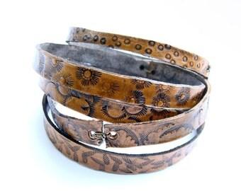 Leather Bangles Stamped Textures Bracelets