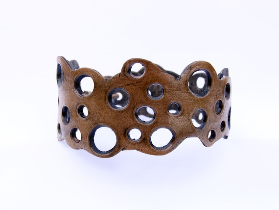 Leather Cuff Bracelet Cut out tooled shoot em up