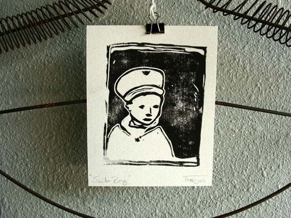 Linocut Print Portrait Little Sailor Boy