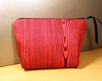 Pink Wood Grain Zipper Pouch