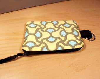 Light Blue and Yellow Pattern Coin Pouch