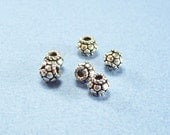 6 Pieces Bali  5mm x 5mm Sterling Silver Beads