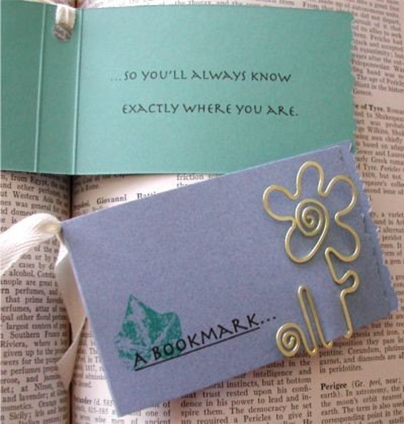 Flower Bookmark in Brass or Copper or Silver Flattened Wire - FREE SHIPPING