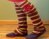 Striped Leg Warmers w\/ Red Flower