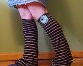Striped Leg Warmers w\/ Aqua Blossom