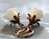 LILYBELLE vintage German milkglass earrings RESERVED