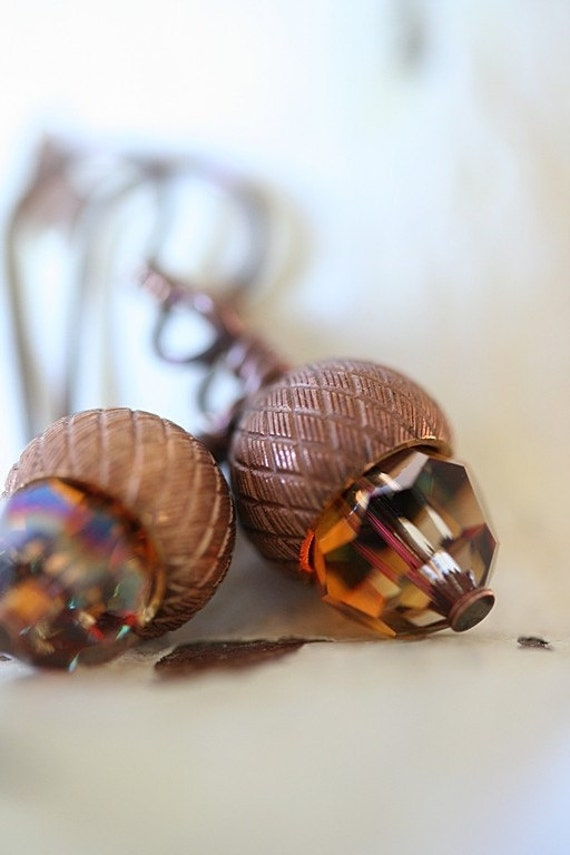 PATIENCE coppery brass and crystal acorn earrings