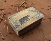 Barnwood BEAR BOX handmade from reclaimed weathered wood - rustic refined
