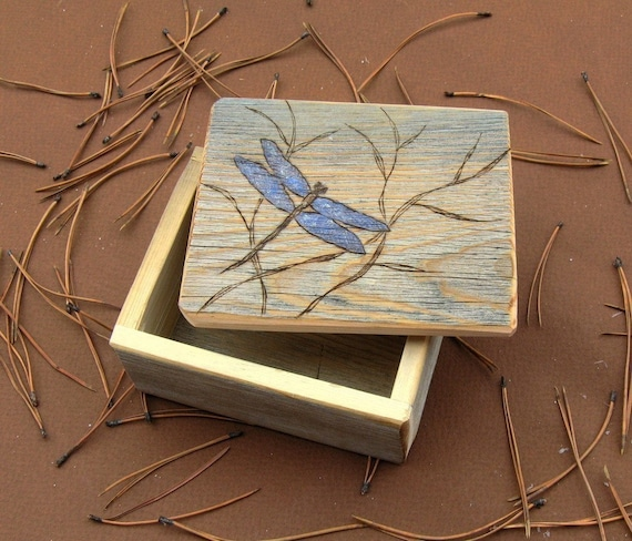 Barnwood DRAGONFLY BOX handmade from reclaimed weathered wood - rustic refined