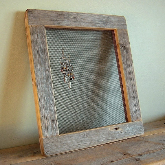 Barnwood EARRING FRAME (7.5x9.5 ) from reclaimed weathered wood - rustic refined jewelry display