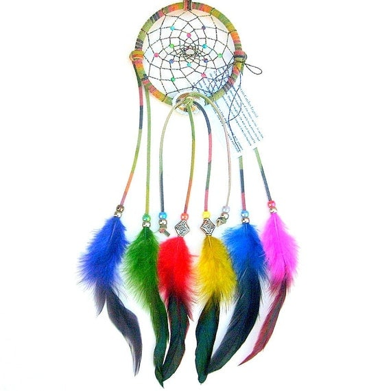 Dream catcher tie dyed brights mixed colors by arizonadreams for How to tie a dreamcatcher web