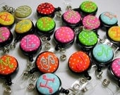5 for 25 Monogrammed Badge Reels - Id Holder- Personalized Slide on clip or Swivel clip