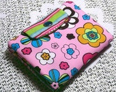 Travel Tea Bag Holder Pouch Carrier Snap Mini Wallet -Pink Flowers