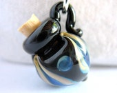 Reserved for Edita . Mini Glass Bottle Pendant . Black Tulip