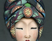 One of a Kind Asian Art Doll face with Faux Fabric Clay Hat ADFF 2