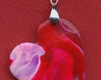 Back Stock Sale Polymer Clay OOAK  Ready To Wear Abstract  Heart Pendant ABHP 5