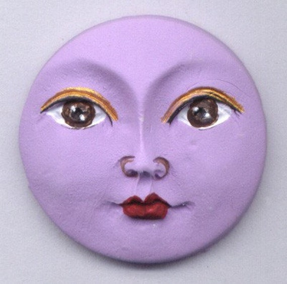 Polymer Clay Lavender  Moon Art Doll Face Cab LMC 1