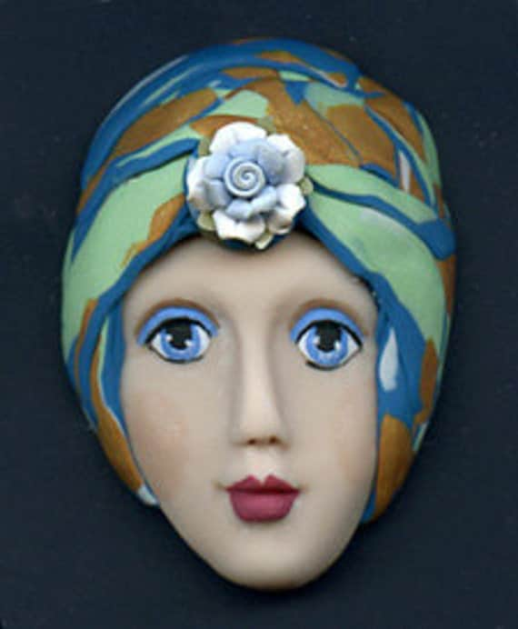 One of a Kind  Larger Art Doll face with Faux Fabric Clay Hat ADAH 1