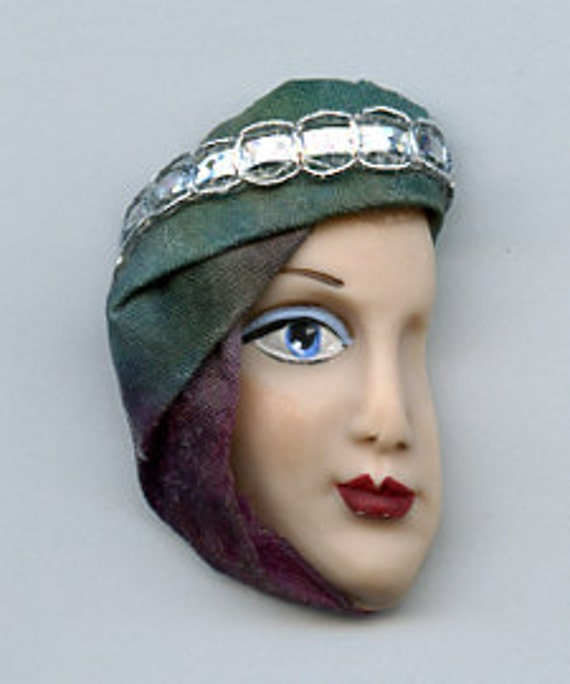 Back Stock Sale   Polymer Clay  Detailed  Face  with fabric  Profile FSHFB 3