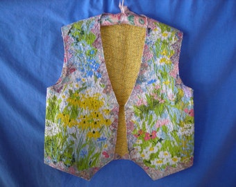 Ladies' Flowered Colorful Reversible OOAK Quilted Vest Misses M-L Yellow Blue Green Pink Monet Inspired