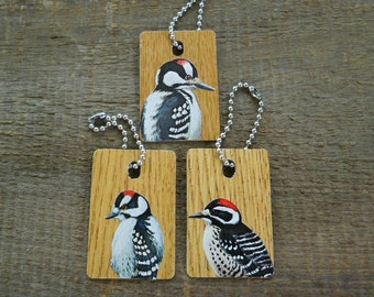 ID Tags for Luggage - Keychains -  Birds - Woodpeckers