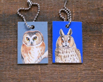 Owl ID Tags or Keychains - Northern Saw-whet Owl, Long-eared Owl - Recycled Identification Tag Key Ring Key Chain