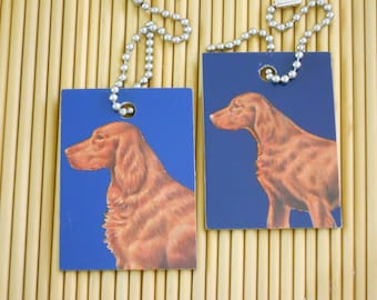 Irish Setter ID Tags or Keychains - Dogs Setters - Recycled Blue Identification Tags Key Ring