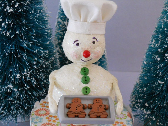 Baker Snowman with Tray of Gingerbread Cookies